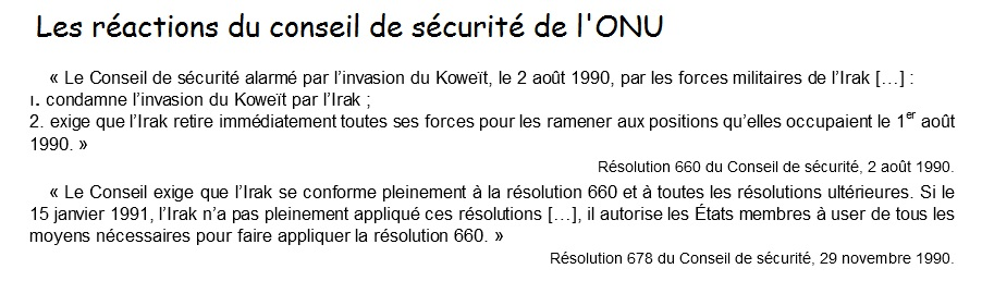 Réaction ONU