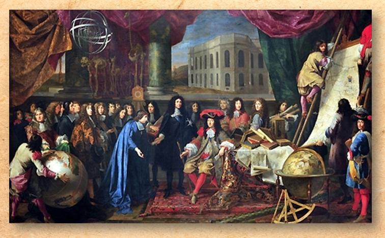 DOC 5 – Présentation des membres de l'Académie des Sciences au roi de France Louis XIV. Le règne de Louis XIV est ponctué de décisions majeures pour l'épanouissement de toutes les sciences à commencer par la fondation par Colbert de l'Académie des sciences. Une académie très libérale que le roi ne contraint à aucun règlement tout en accordant à ses membres une rémunération annuelle. Libres de poursuivre leurs travaux personnels, ces savants participent également à des projets collectifs, utiles au royaume. Réorganisée en 1699, elle prend le nom d'Académie royale des sciences.
