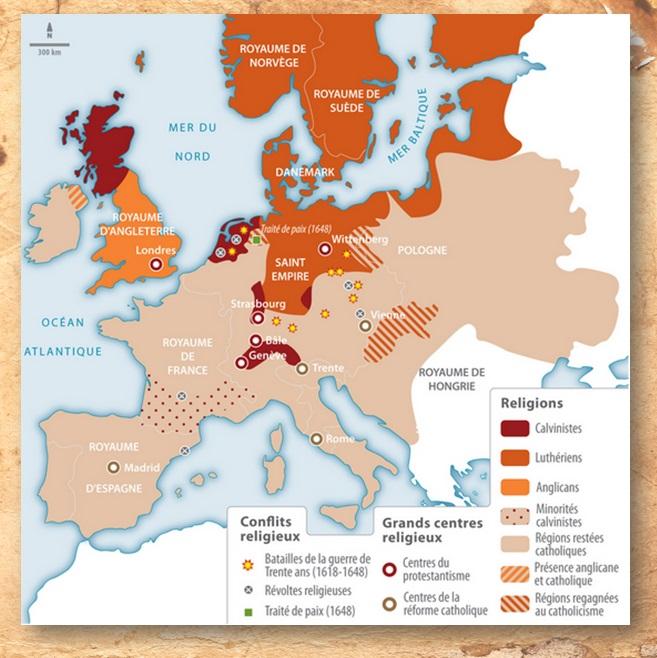 DOC 7 – Les divisions religieuses en Europe en 1648.