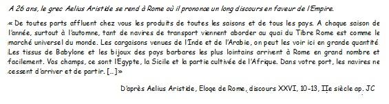 DOC 1 – Rome, principal marché de l'Empire.