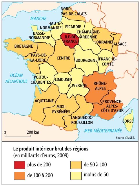 DOC 1 – Les inégalités de richesse entre les régions métropolitaines