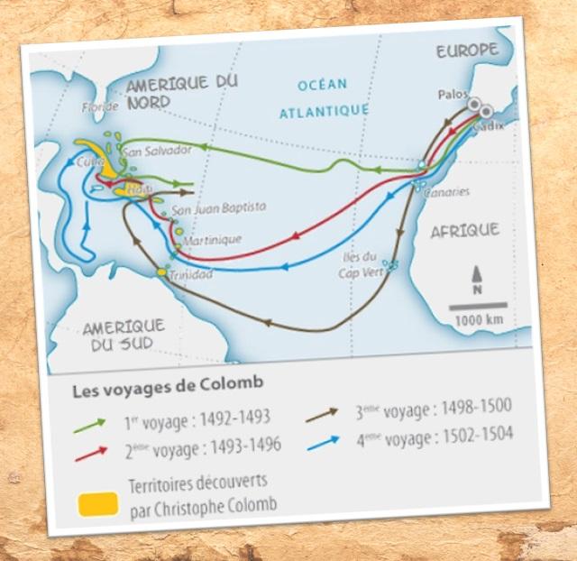 DOC 2 -  Les quatre voyages de C. Colomb