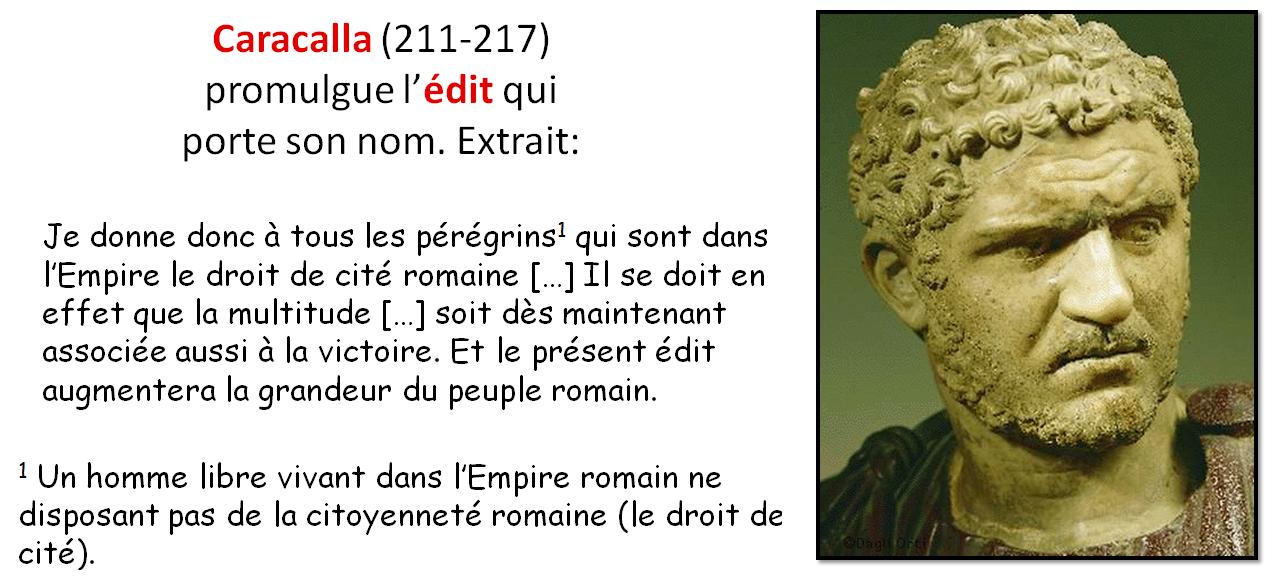 DOC 5 – Extrait de l'Edit de Caracalla (212 ap JC)