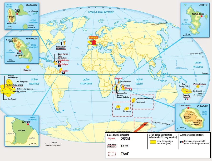 DOC 1 – Les territoires ultramarins de la France