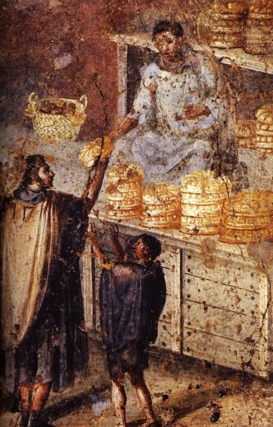 DOC 6 – Une boulangerie à Pompéi.  Le blé était importé était transformé en farine. On en faisait des galettes ou des miches de pain, qui étaient la base de l'alimentation des Romains.