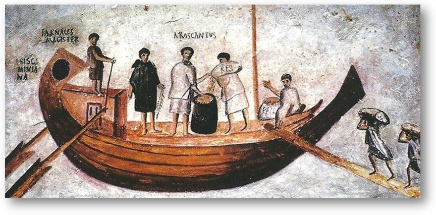 DOC 4 – Chargement de blé dans une barque à Ostie.  Ces barques étaient tirées par des bœufs jusqu'à Rome.