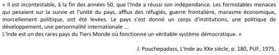 Doc 12 : Extrait de J.Pouchepasass, L'Inde au XXe siècle, p.180, PUF, 1975.