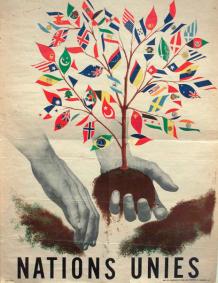 DOC 3 - L'affiche de l'ONU en 1947. A l'origine l'ONU est composée de 51 états qui ont tous été alliés contre l'Allemagne nazi.