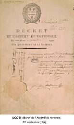 Doc 5 : Décret de l'Assemblée nationale, 22 septembre 1792.