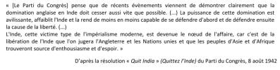 Doc 6 : Extrait de la résolution « Quit India » du parti du Congrès, 8 août 1942.