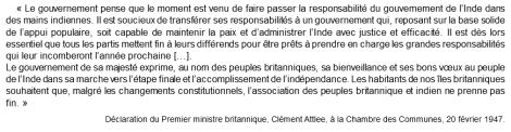 Doc 7 : Extrait de la Déclaration du premier ministre britannique, Clément Attlee, Chambres des Communes, 20 février 1947.