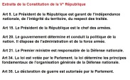 Extraits de la Constitution de la Vème République
