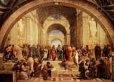 L'école d'Athènes, tableau du peintre Rapahël dans lequel apparait notamment Aristote.