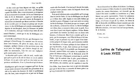 Lettre de Talleyrand à Louis XVIII