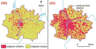 DOC 1 - L'étalement urbain à Lyon (1955-2011)