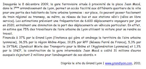 DOC 6 - Les acteurs de l'aménagement de la gare Jean Macé de Lyon
