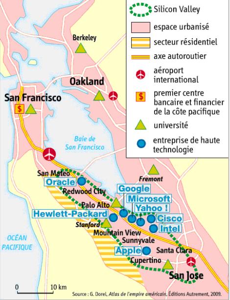 Je peux accéder à plus d'informations sur la Silicon Valley en suivant le lien suivant: http://fr.wikipedia.org/wiki/Silicon_Valley