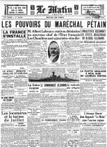 """Doc5- Une du """"Matin"""", 13 Juillet 1940"""