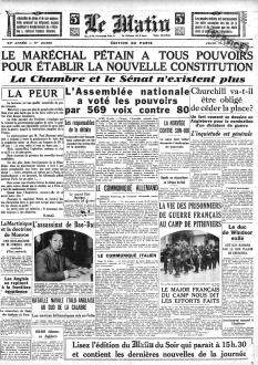 """DOC5A - Une du """"Matin"""", 11 juillet 1940"""
