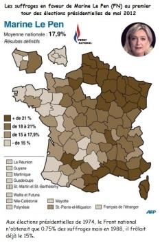 Les suffrages en faveur de Marine Le Pen aux élections présidentielles de 2012
